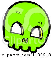 Cartoon Of A Green Skull 3 Royalty Free Vector Clipart