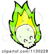 Cartoon Of A Human Skull With Green Flames 1 Royalty Free Vector Clipart