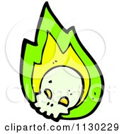Cartoon Of A Human Skull With Green Flames 2 Royalty Free Vector Clipart