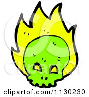 Cartoon Of A Green Skull With Flames Royalty Free Vector Clipart