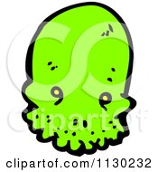 Cartoon Of A Green Alien Skull 2 Royalty Free Vector Clipart by lineartestpilot