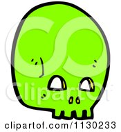 Cartoon Of A Green Skull 2 Royalty Free Vector Clipart
