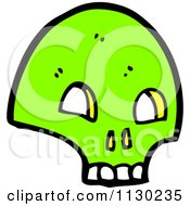 Cartoon Of A Green Skull 7 Royalty Free Vector Clipart