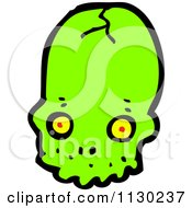 Cartoon Of A Green Alien Skull 4 Royalty Free Vector Clipart