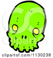 Cartoon Of A Green Alien Skull 7 Royalty Free Vector Clipart