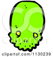 Cartoon Of A Green Alien Skull 6 Royalty Free Vector Clipart
