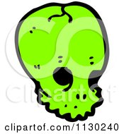 Cartoon Of A Green Alien Skull 5 Royalty Free Vector Clipart