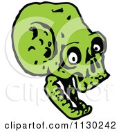 Cartoon Of A Green Skull 11 Royalty Free Vector Clipart