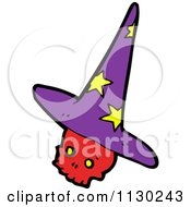 Cartoon Of A Red Skull With A Witch Hat Royalty Free Vector Clipart by lineartestpilot