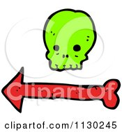 Cartoon Of A Green Skull Over A Red Arrow Royalty Free Vector Clipart