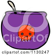 Cartoon Of A Purple Cauldron With A Red Skull Royalty Free Vector Clipart by lineartestpilot