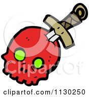 Cartoon Of A Sword Through A Red Skull 2 Royalty Free Vector Clipart by lineartestpilot