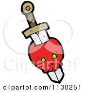 Cartoon Of A Sword Through A Red Skull 3 Royalty Free Vector Clipart by lineartestpilot