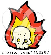 Cartoon Of A Human Skull With Flames 4 Royalty Free Vector Clipart