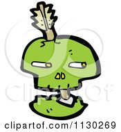 Cartoon Of A Green Skull With An Arrow 1 Royalty Free Vector Clipart