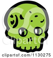 Cartoon Of A Green Skull 13 Royalty Free Vector Clipart