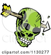 Cartoon Of A Green Skull With An Arrow 2 Royalty Free Vector Clipart