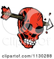 Cartoon Of An Arrow Through A Red Skull Royalty Free Vector Clipart