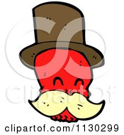 Cartoon Of A Red Skull With A Mustache And Top Hat 3 Royalty Free Vector Clipart by lineartestpilot