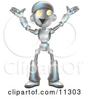 Friendly Futuristic Robot Happily Gesturing With His Arms Up