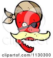 Cartoon Of A Red Pirate Skull With A Mustache Eye Patch And Bandana Royalty Free Vector Clipart by lineartestpilot