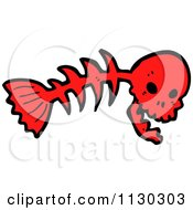 Cartoon Of A Red Skull On A Fish Bone 2 Royalty Free Vector Clipart by lineartestpilot