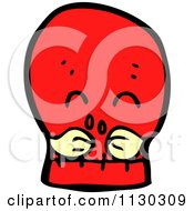 Cartoon Of A Red Skull With A Mustache 1 Royalty Free Vector Clipart by lineartestpilot