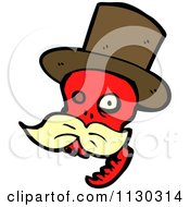 Cartoon Of A Red Skull With A Mustache And Top Hat 1 Royalty Free Vector Clipart by lineartestpilot