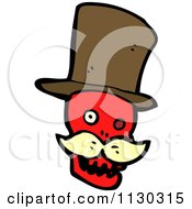 Cartoon Of A Red Skull With A Mustache And Top Hat 2 Royalty Free Vector Clipart by lineartestpilot