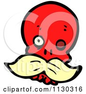 Cartoon Of A Red Skull With A Mustache 2 Royalty Free Vector Clipart by lineartestpilot