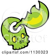 Cartoon Of A Green Skull And Flames 1 Royalty Free Vector Clipart