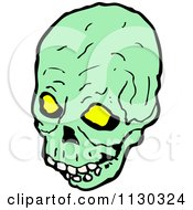 Cartoon Of A Green Skull 8 Royalty Free Vector Clipart