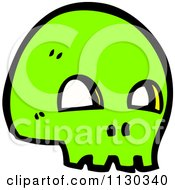 Cartoon Of A Green Skull 4 Royalty Free Vector Clipart