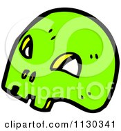 Cartoon Of A Green Skull 5 Royalty Free Vector Clipart