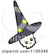 Cartoon Of A Skull Wearing A Wizard Hat Royalty Free Vector Clipart