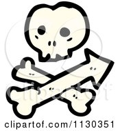 Cartoon Of A Skull And Crossbones With Arrow Royalty Free Vector Clipart