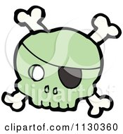 Cartoon Of A Green Pirate Skull And Crossbones 2 Royalty Free Vector Clipart