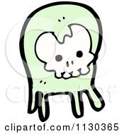 Cartoon Of A Green Skull Ghost 2 Royalty Free Vector Clipart by lineartestpilot