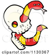 Cartoon Of A Skull With A Snake 1 Royalty Free Vector Clipart