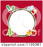 Retro Round Christmas Frame With Items On Red Polka Dots