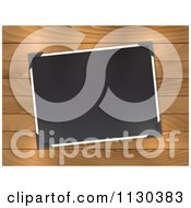 Clipart Of A Blank Photo With Corner Holders On Wood Royalty Free Vector Illustration by KJ Pargeter