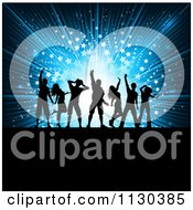Clipart Of Dancer Silhouettes Over A Blue Starburst Royalty Free Vector Illustration