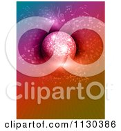 Clipart Of A Sparkly Disco Ball And Music Notes Over Colorful Rays Royalty Free Vector Illustration by KJ Pargeter