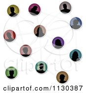 Clipart Of Silhouetted Social Networking Avatar People Connected Royalty Free Vector Illustration