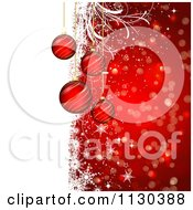 Clipart Of A Red And White Christmas Bauble Grunge Bokeh And Snowflake Background Royalty Free Vector Illustration