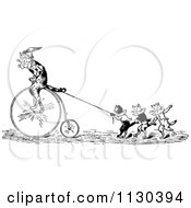 Clipart Of A Retro Vintage Black And White Performing Cats With A Penny Farthing Royalty Free Vector Illustration by Prawny Vintage