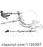 Clipart Of A Retro Vintage Black And White Monkey And Crocodile Sword Fighting Royalty Free Vector Illustration