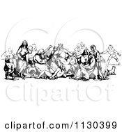 Clipart Of A Retro Vintage Black And White Group Of Medieval People Royalty Free Vector Illustration