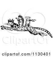 Clipart Of A Retro Vintage Black And White Hedgehog And Dog Riding On A Leopard Royalty Free Vector Illustration