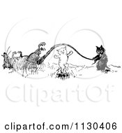 Clipart Of Retro Vintage Black And White Cats Playing Jump Rope With A Dead Rats Tail Royalty Free Vector Illustration